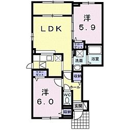 ソアブランセ 1階2LDKの間取り