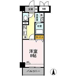 小田急小田原線 小田原駅 徒歩10分の賃貸マンション 2階1Kの間取り
