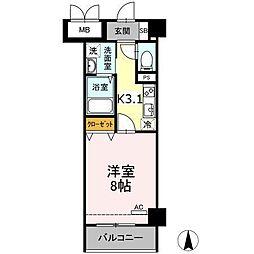 小田急小田原線 小田原駅 徒歩10分の賃貸マンション 4階1Kの間取り