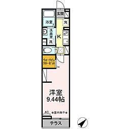 JR横浜線 矢部駅 徒歩7分の賃貸アパート 1階1Kの間取り
