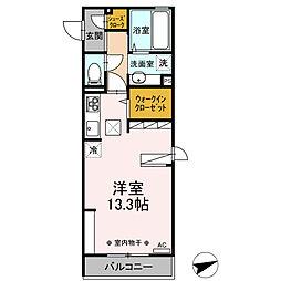 (仮)D-room中央町 1階ワンルームの間取り