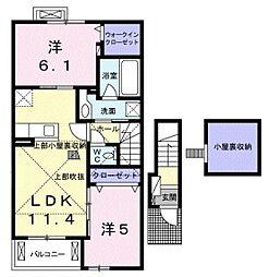 ヴィア・ラッテア二番館 2階2LDKの間取り