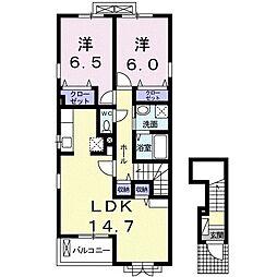 レガーロ 2階2LDKの間取り