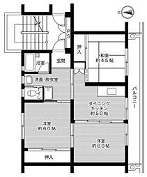 ビレッジハウス好間2号棟 4階2LDKの間取り