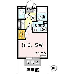 フローラ岡本 B棟 1階1Kの間取り