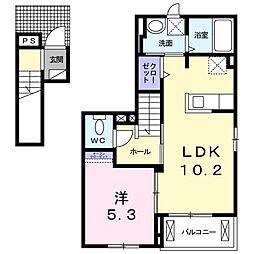 多摩都市モノレール 多摩センター駅 徒歩25分の賃貸アパート 2階1LDKの間取り