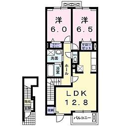 ザオバーレイ 2階2LDKの間取り