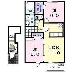 サウスウィンズVIII 2階2LDKの間取り