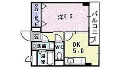 プリムヴェ-ルヤクラ 2階1DKの間取り