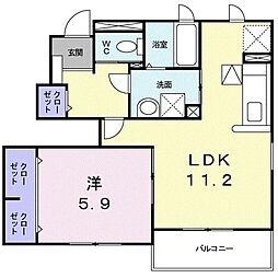 サンモ-ル坪井II 1階1LDKの間取り