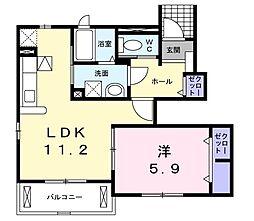 サニーハウス・K 1階1LDKの間取り