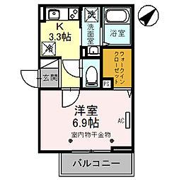 埼玉高速鉄道 浦和美園駅 徒歩9分の賃貸アパート 2階1Kの間取り