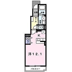 レジデンス・ネオI 1階1Kの間取り