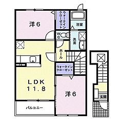 M.Kマンション VIII 2階2LDKの間取り