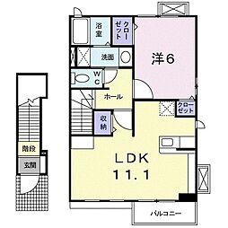 ビクトワール 2階1LDKの間取り