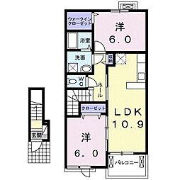 ヴァンベール 2階2LDKの間取り