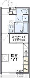レオパレスHIGASHINOII 1階1Kの間取り