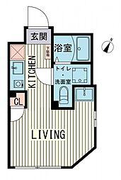 都営大江戸線 西新宿五丁目駅 徒歩14分の賃貸マンション 3階ワンルームの間取り