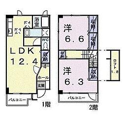 ア-バンハウス 2号館 1階2LDKの間取り