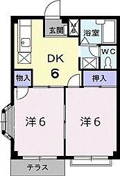 エルディム・みのりB 1階2DKの間取り