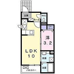 ノースウッド 1階1LDKの間取り