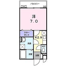 ベル ミーユ 4階1Kの間取り