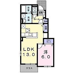 ラ・メゾン カメリア 北野田 1階1LDKの間取り