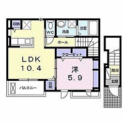 ジャン ノーブル L 2階1LDKの間取り