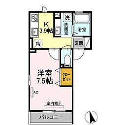 JUNES大倉山 2階1Kの間取り