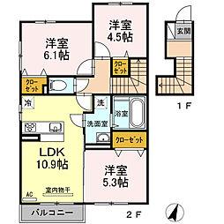 シュプリーム A棟 2階3LDKの間取り