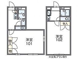 レオパレス愛松 2階1Kの間取り