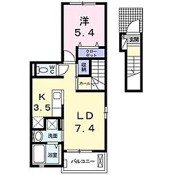 プチフローラ 北野田I 2階1LDKの間取り
