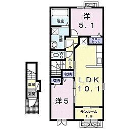 ドゥアーレA 2階2LDKの間取り