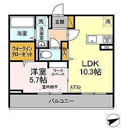 仮)D-room松戸新田 A 2階1LDKの間取り