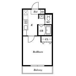A-City柴田 3階1Kの間取り