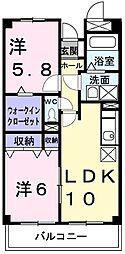 ヴァンテアン 1階2LDKの間取り