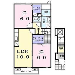 リバーサイド・フィオーレ 2階2LDKの間取り