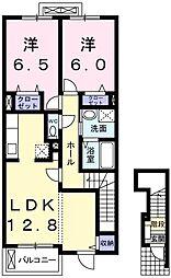 カーサ・フローレス 2階2LDKの間取り