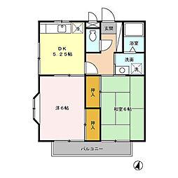 東武野田線 大和田駅 徒歩10分の賃貸アパート 1階2DKの間取り