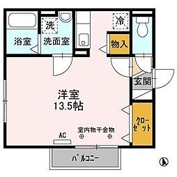 リビングタウン文京 D 1階1Kの間取り