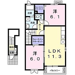ノバIII 2階2LDKの間取り
