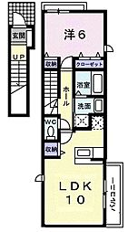 アクアミント・湘南 2階1LDKの間取り