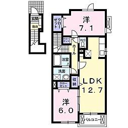 ミルレーヴ 2階2LDKの間取り
