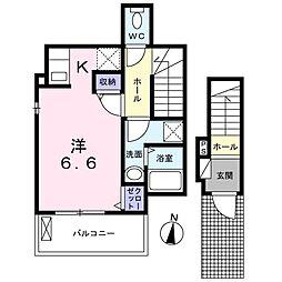 Galleria Ikoma 2階1Kの間取り