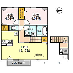 JR桜井線 天理駅 徒歩11分の賃貸アパート 1階2LDKの間取り