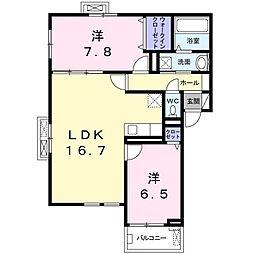 上郡2丁目アパート(024480501) 3階2LDKの間取り