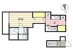 東急田園都市線 桜新町駅 徒歩10分の賃貸アパート 2階1Kの間取り