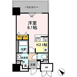 D' Forest 甲南 5階1Kの間取り