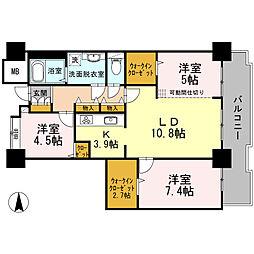 品川シーサイドビュータワー I 24階3LDKの間取り