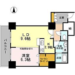 品川シーサイドビュータワー I 9階1LDKの間取り
